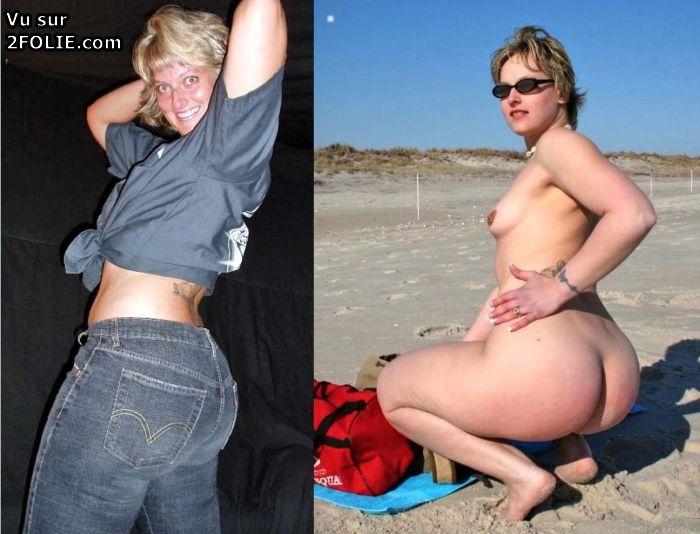 Femme ronde habillé puis nue